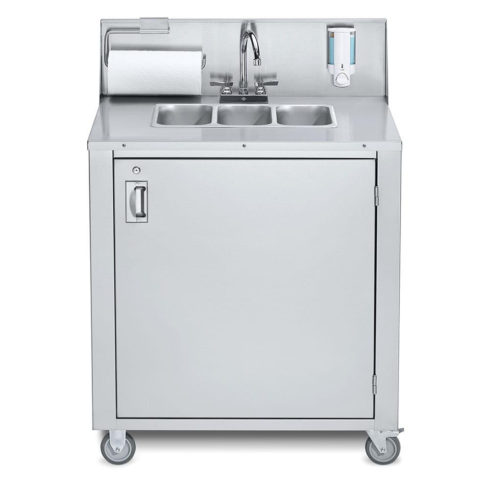 """Crown Verity CV-PHS-3C 38.25""""H Portable Sink w/ (3) 5""""D Bowls, Soap Dispenser"""