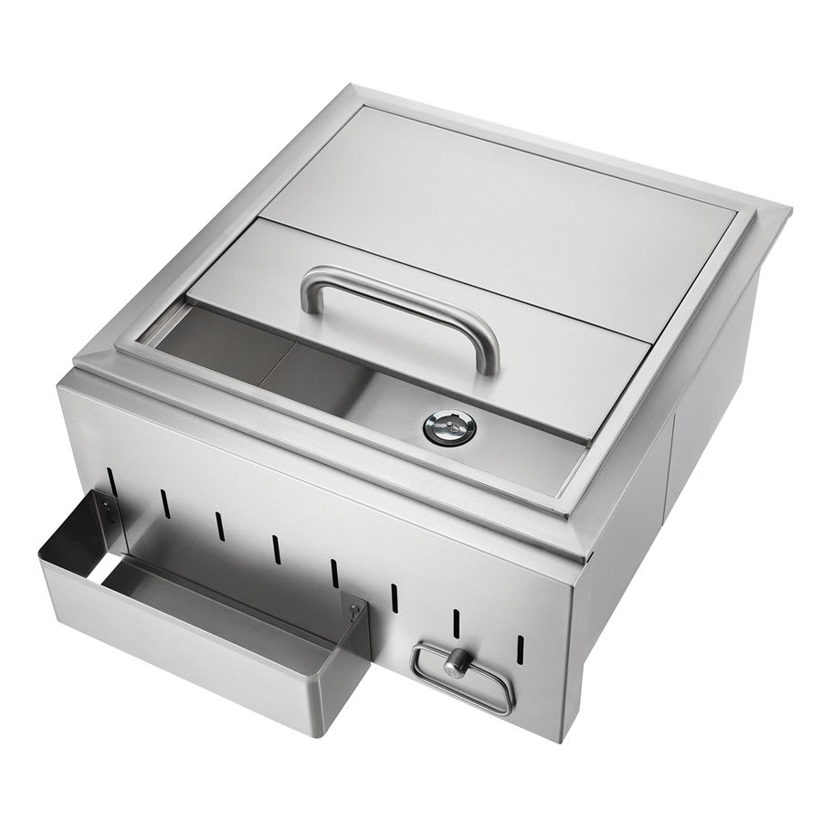 Crown Verity IC1 Ice Chest w/ Drain For Island Grill, Stainless