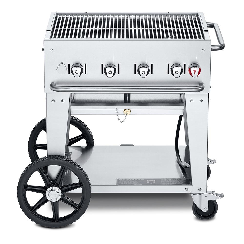 "Crown Verity MCB-30LP 30"" Mobile Gas Commercial Outdoor Charbroiler w/ Water Pan, LP"
