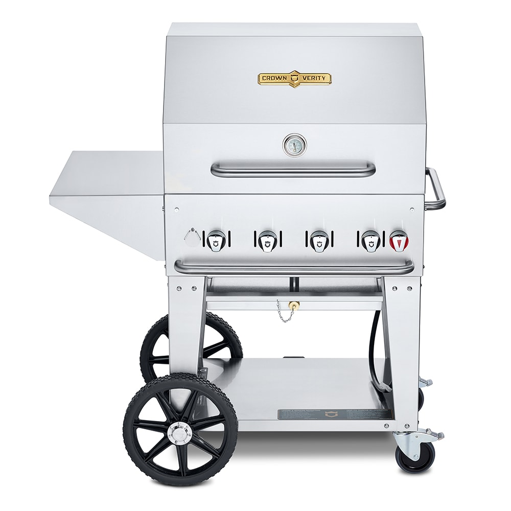 "Crown Verity MCB-30PKG-NG 30"" Mobile Gas Commercial Outdoor Charbroiler w/ Water Pan, NG"