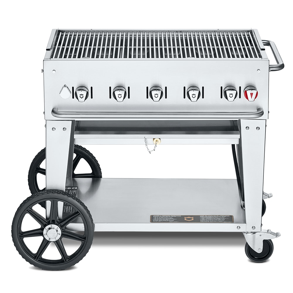 "Crown Verity MCB-36LP 36"" Mobile Gas Commercial Outdoor Charbroiler w/ Water Pan, LP"