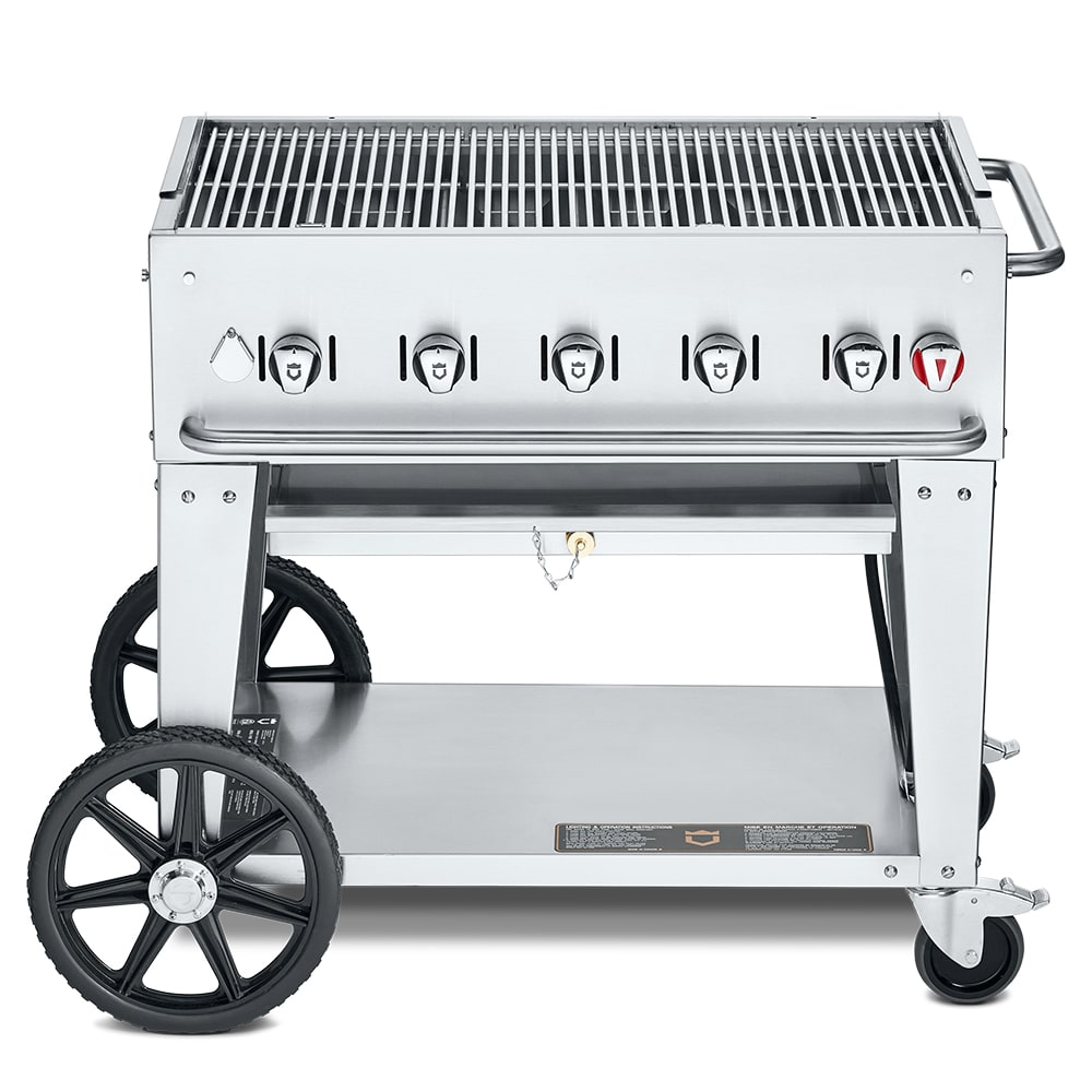 """Crown Verity MCB-36NG 36"""" Mobile Gas Commercial Outdoor Charbroiler w/ Water Pan, NG"""