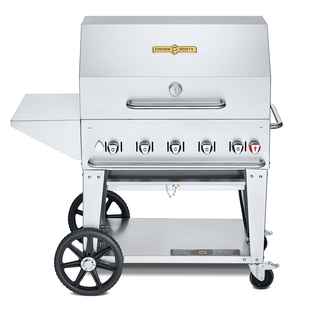 "Crown Verity MCB-36PKG-NG 36"" Mobile Gas Commercial Outdoor Charbroiler w/ Water Pan, NG"
