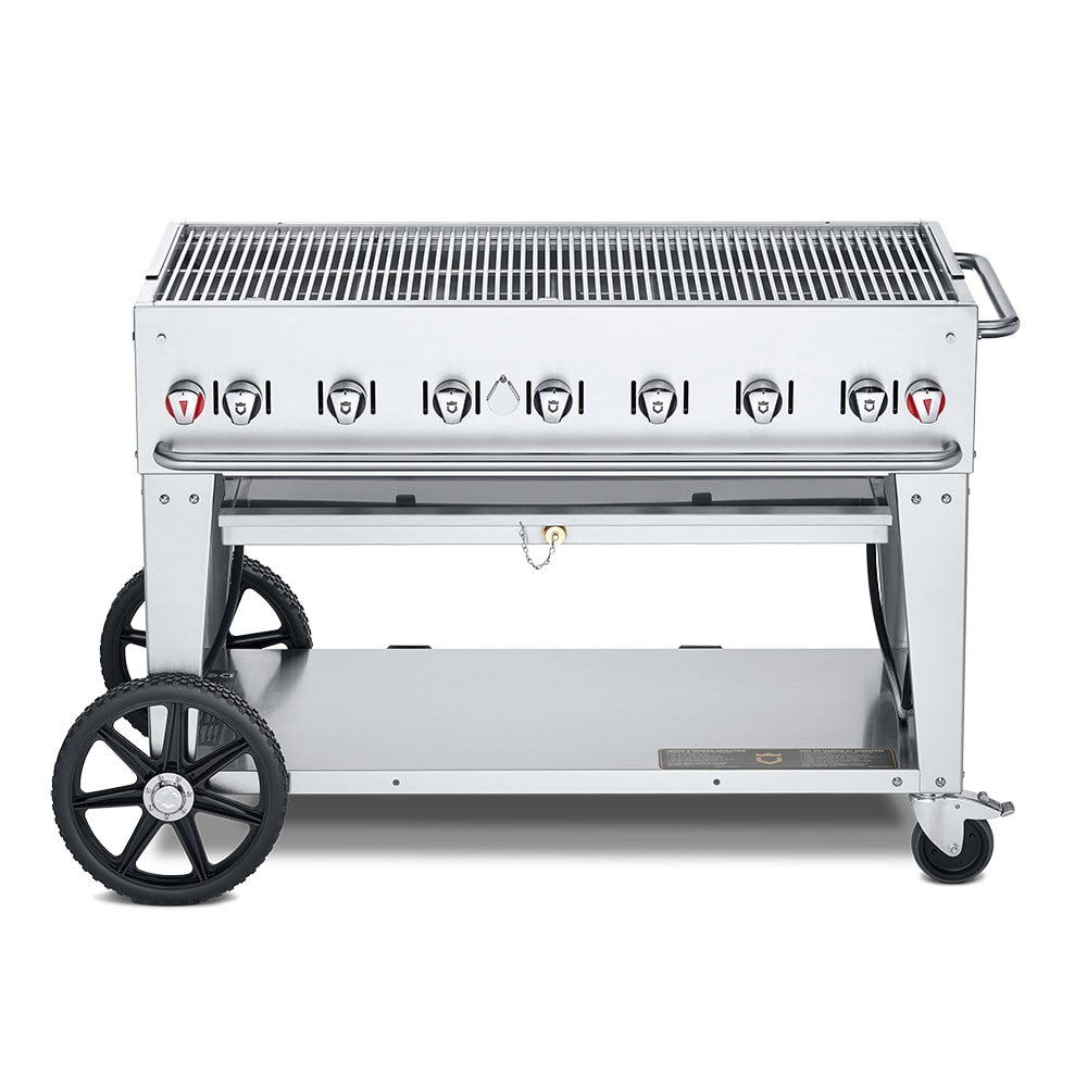 "Crown Verity MCB-48LP 48"" Mobile Gas Commercial Outdoor Charbroiler w/ Water Pan, LP"
