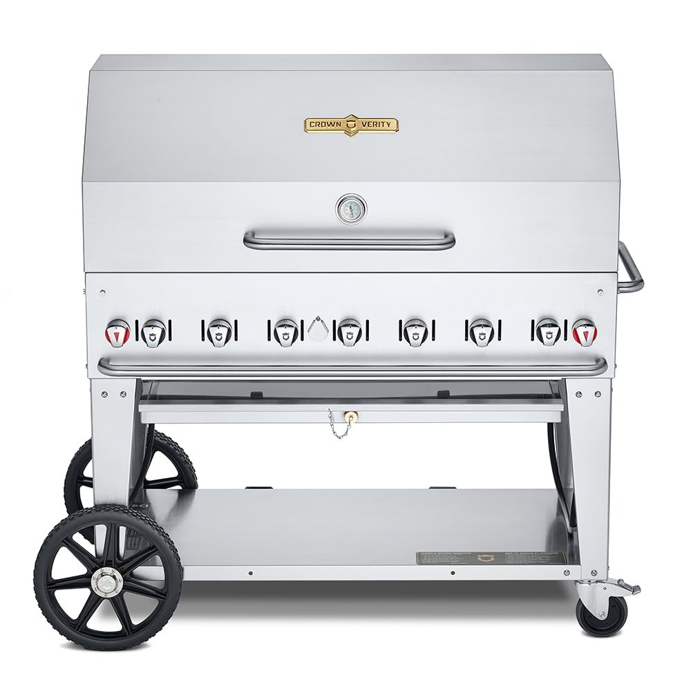 """Crown Verity MCB-48RDP-LP 48"""" Mobile Gas Commercial Outdoor Charbroiler w/ Water Pan, LP"""