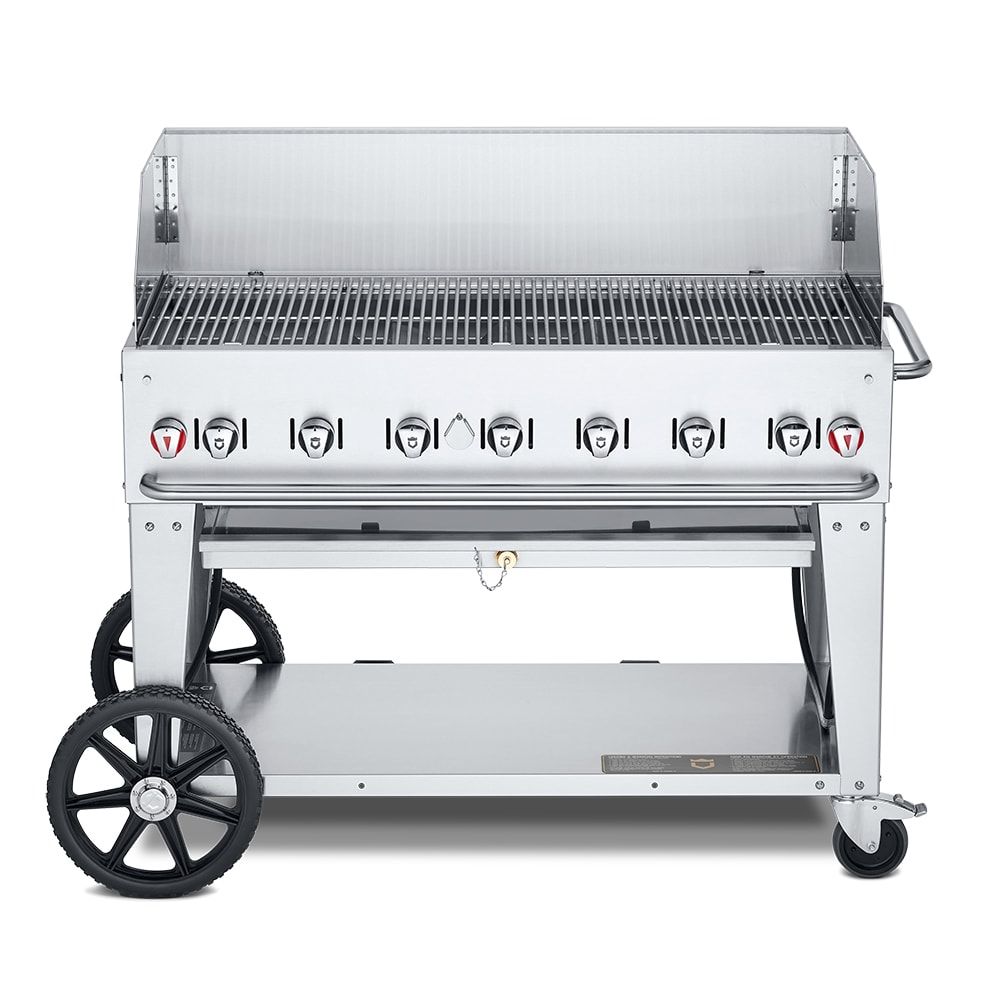 "Crown Verity MCB-48WGP-NG 48"" Mobile Gas Commercial Outdoor Charbroiler w/ Water Pan, NG"
