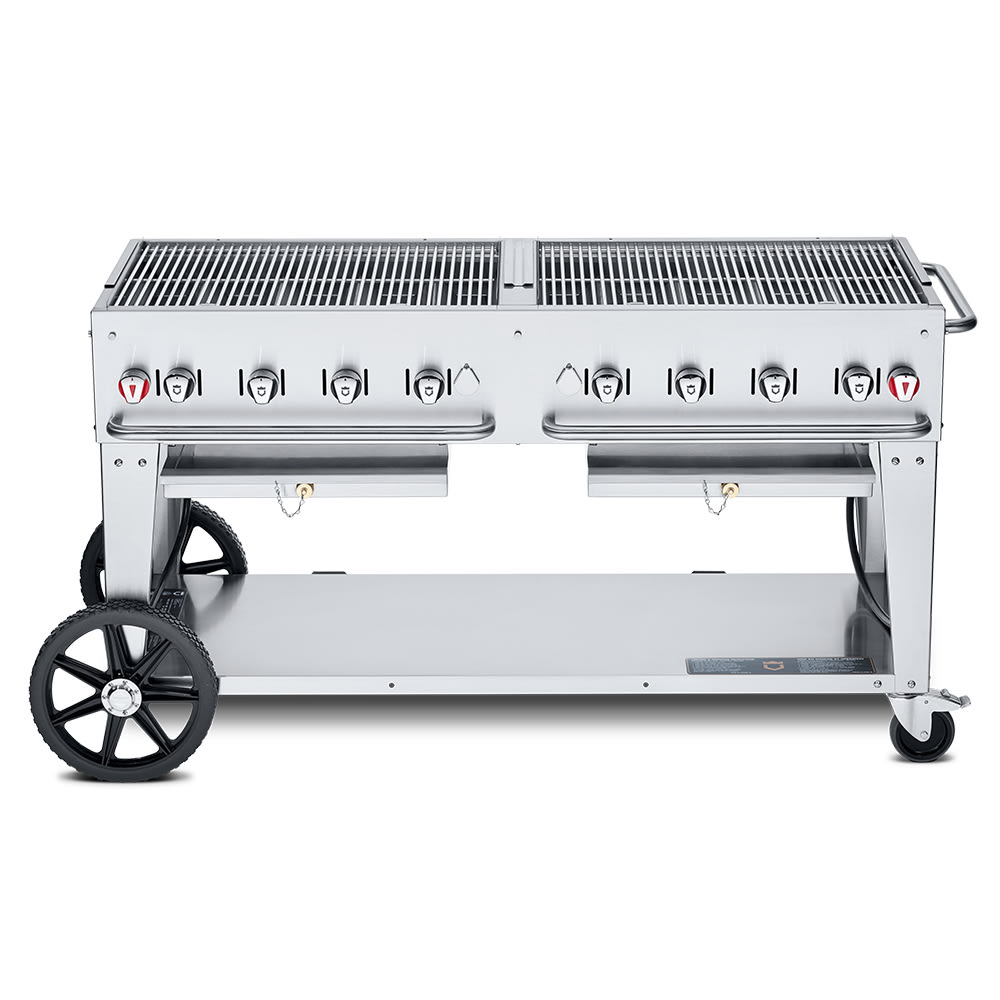 "Crown Verity MCB-60NG 60"" Mobile Gas Commercial Outdoor Charbroiler w/ Water Pan, NG"