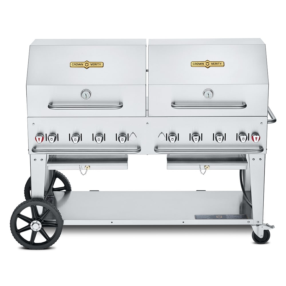 "Crown Verity CV-MCB-60RDP-NG 60"" Mobile Gas Commercial Outdoor Charbroiler w/ Water Pan, NG"
