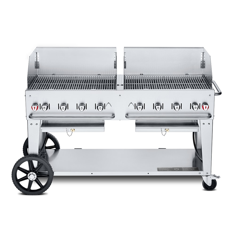 "Crown Verity MCB-60WGP-LP 60"" Mobile Gas Commercial Outdoor Charbroiler w/ Water Pan, LP"