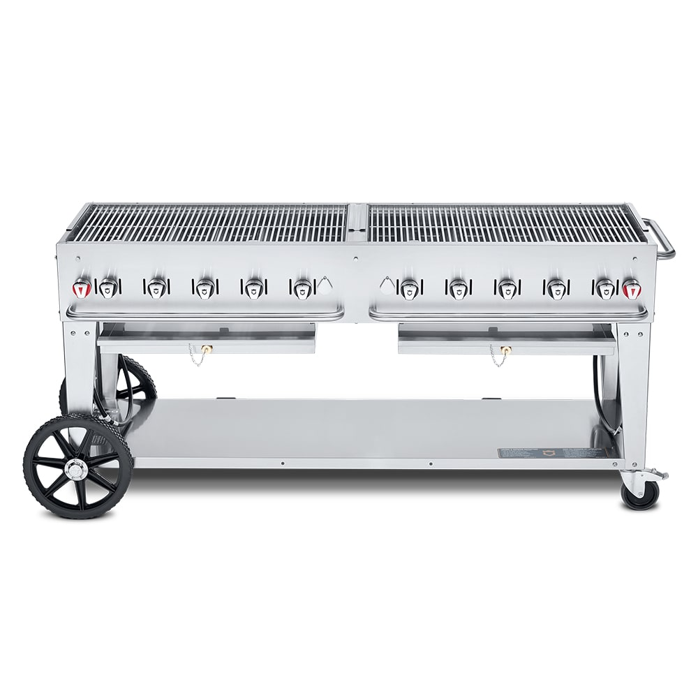 "Crown Verity MCB-72LP 72"" Mobile Gas Commercial Outdoor Charbroiler w/ Water Pan, LP"