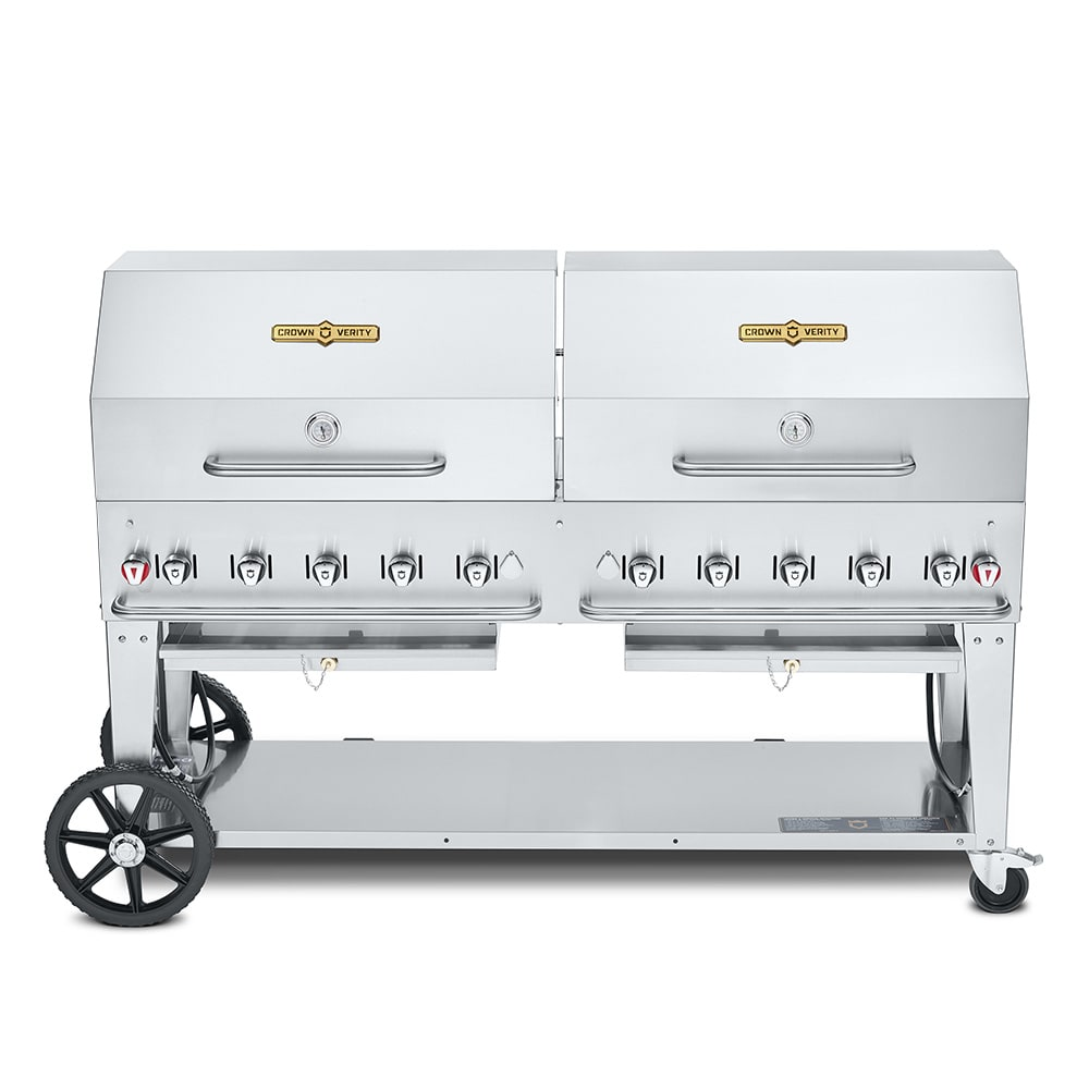 "Crown Verity CV-MCB-72RDP-LP 72"" Mobile Gas Commercial Outdoor Charbroiler w/ Water Pan, LP"