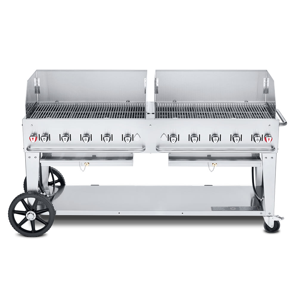 "Crown Verity MCB-72WGP-LP 72"" Mobile Gas Commercial Outdoor Charbroiler w/ Water Pan, LP"