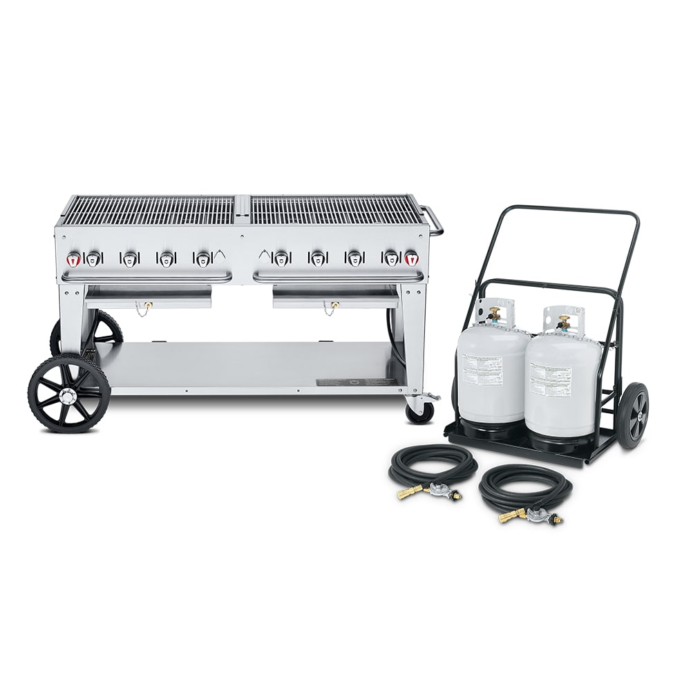 """Crown Verity MCC-60 60"""" Mobile Gas Commercial Outdoor Charbroiler w/ Water Pan, LP"""