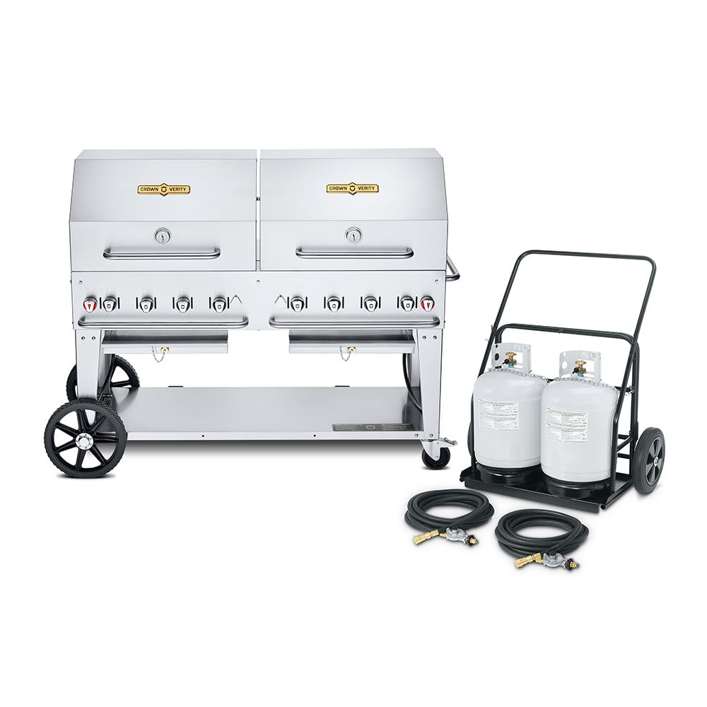 """Crown Verity CV-MCC-60RDP 60"""" Mobile Gas Commercial Outdoor Charbroiler w/ Water Pan, LP"""