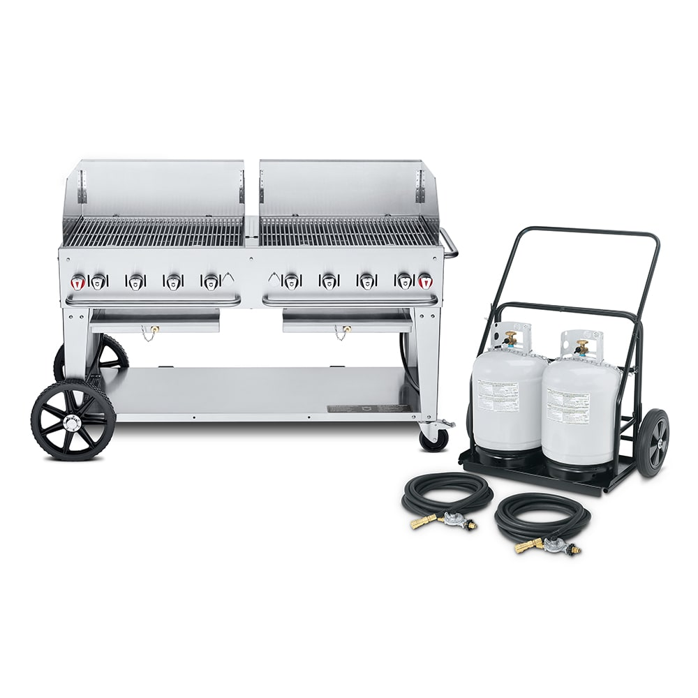 "Crown Verity MCC-60WGP 60"" Mobile Gas Commercial Outdoor Charbroiler w/ Water Pan, LP"