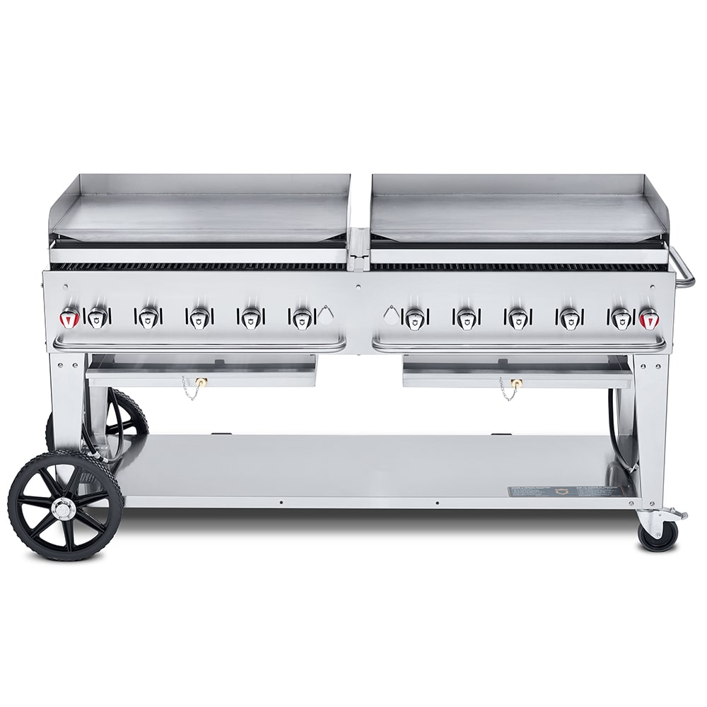 "Crown Verity MG-72NG 72"" Mobile Gas Commercial Outdoor Griddle, NG"