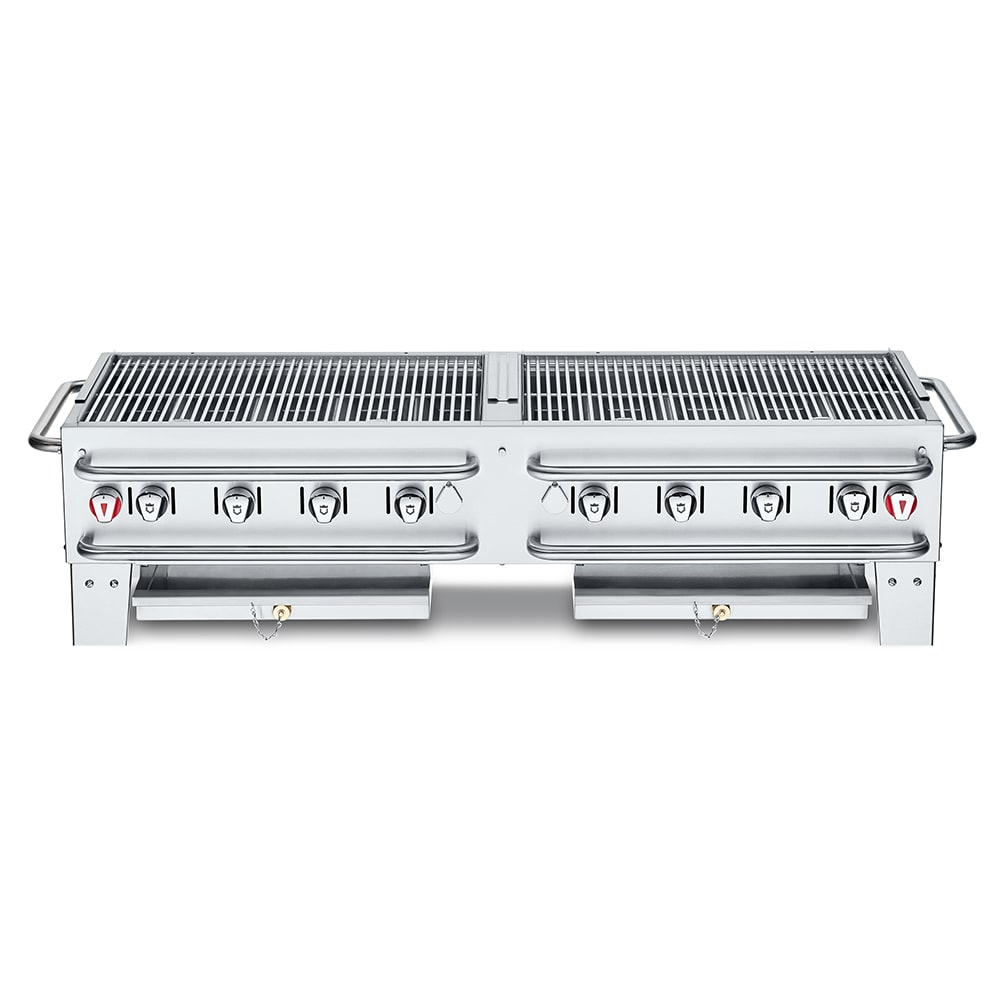 "Crown Verity PCB-60 60"" Countertop Gas Commercial Outdoor Grill w/ Water Pan, LP"