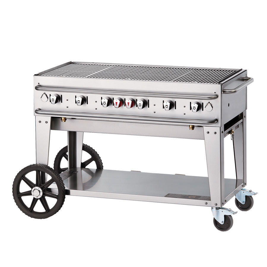 "Crown Verity RCB-48-SI-LP 48"" Mobile Gas Commercial Outdoor Grill w/ Water Pans, LP"
