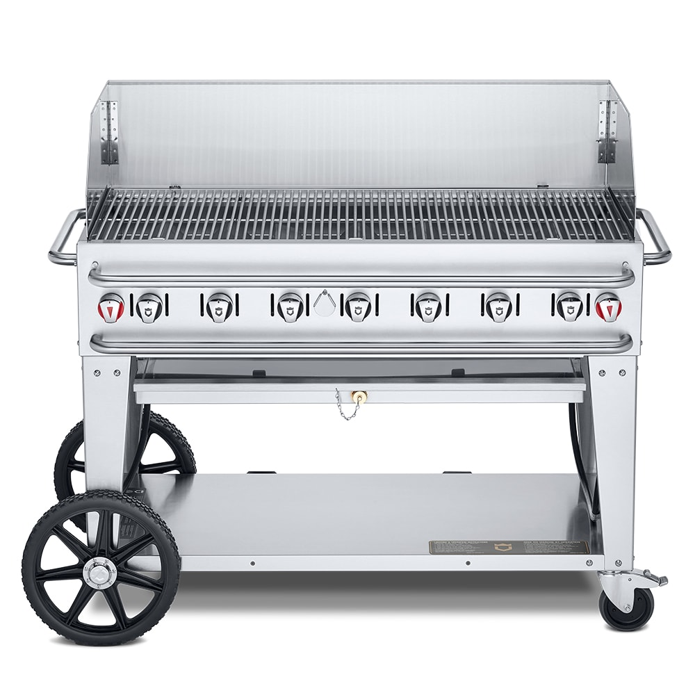 "Crown Verity RCB-48WGP-LP 48"" Mobile Gas Commercial Outdoor Grill w/ Water Pans, LP"