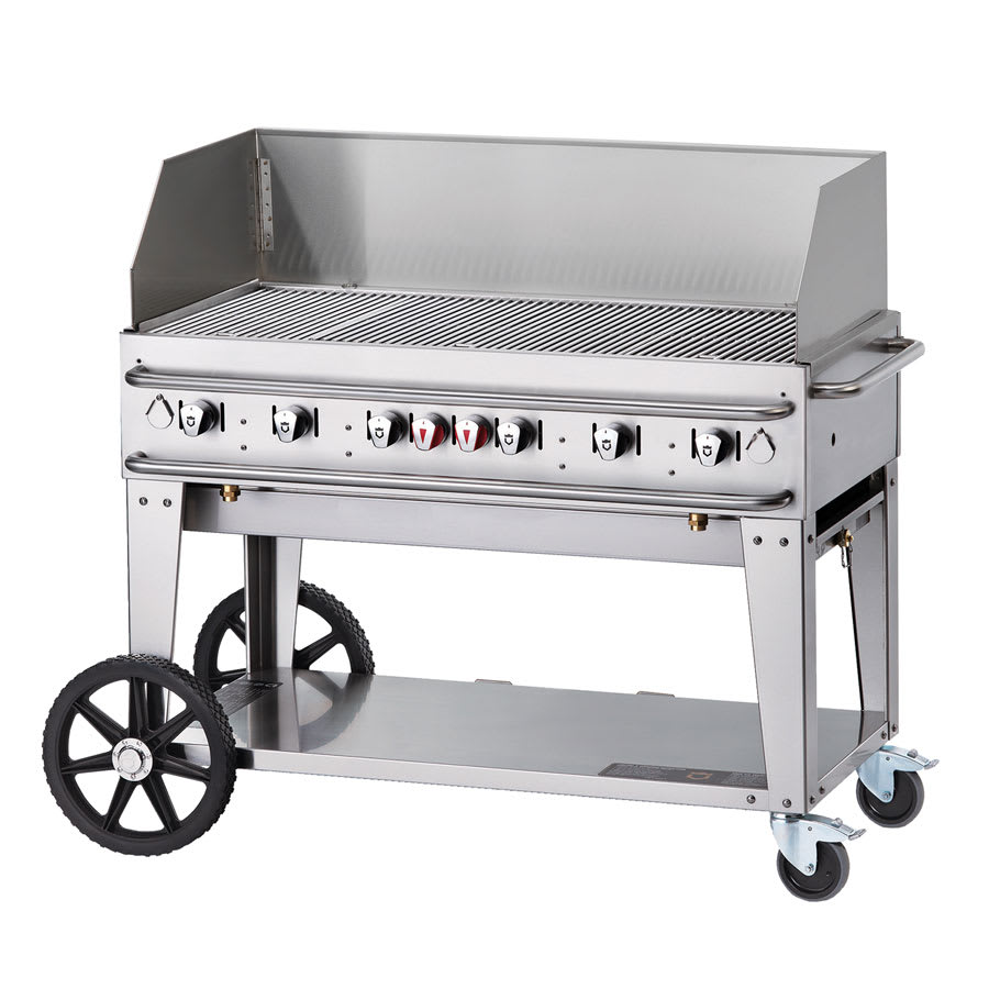 "Crown Verity RCB-48WGP-SI-LP 48"" Mobile Gas Commercial Outdoor Grill w/ Water Pans, LP"