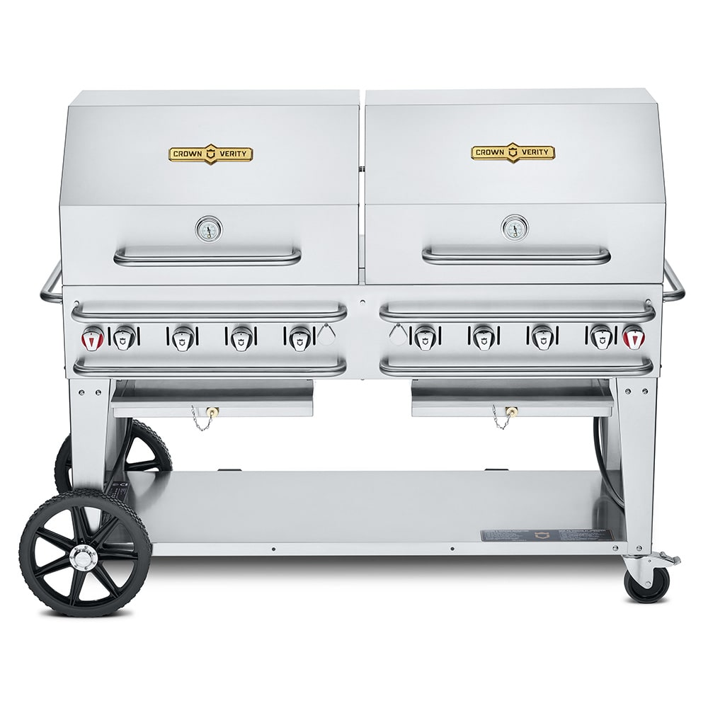"Crown Verity RCB-60RDP-LP 60"" Mobile Gas Commercial Outdoor Grill w/ Water Pans, LP"