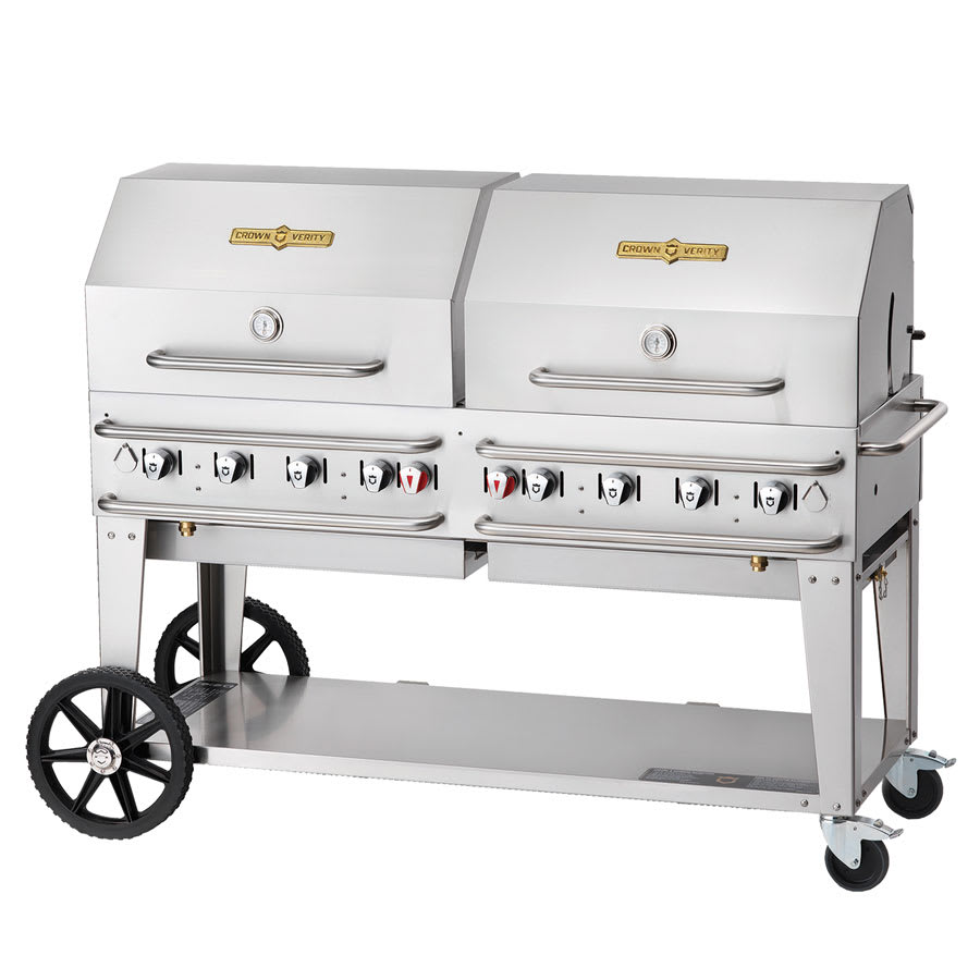 "Crown Verity RCB-60RDP-SI-LP 60"" Mobile Gas Commercial Outdoor Grill w/ Water Pans, LP"