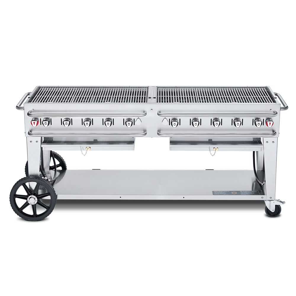 "Crown Verity RCB-72-LP 72"" Mobile Gas Commercial Outdoor Grill w/ Water Pans, LP"