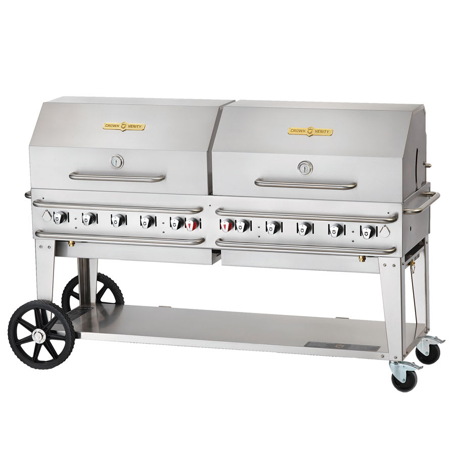 """Crown Verity RCB-72RDP-SI-LP 72"""" Mobile Gas Commercial Outdoor Grill w/ Water Pans, LP"""