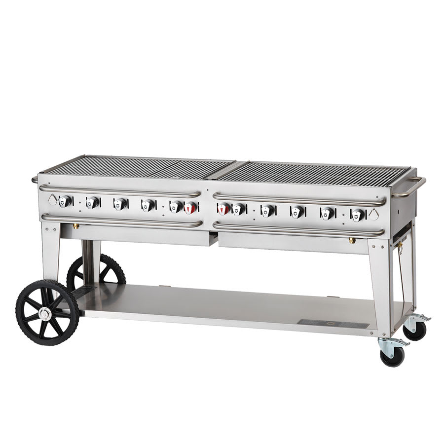 "Crown Verity RCB-72-SI-LP 72"" Mobile Gas Commercial Outdoor Grill w/ Water Pans, LP"
