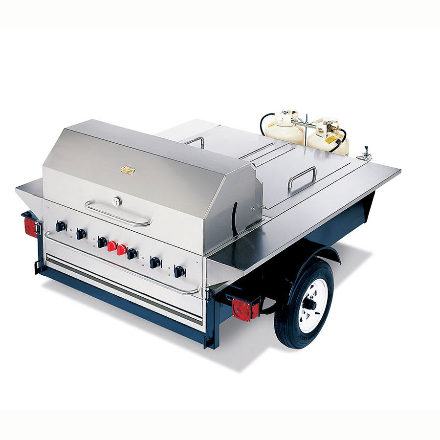 """Crown Verity TG-1 48"""" Towable Gas Commercial Outdoor Grill w/ Water Pans, LP"""