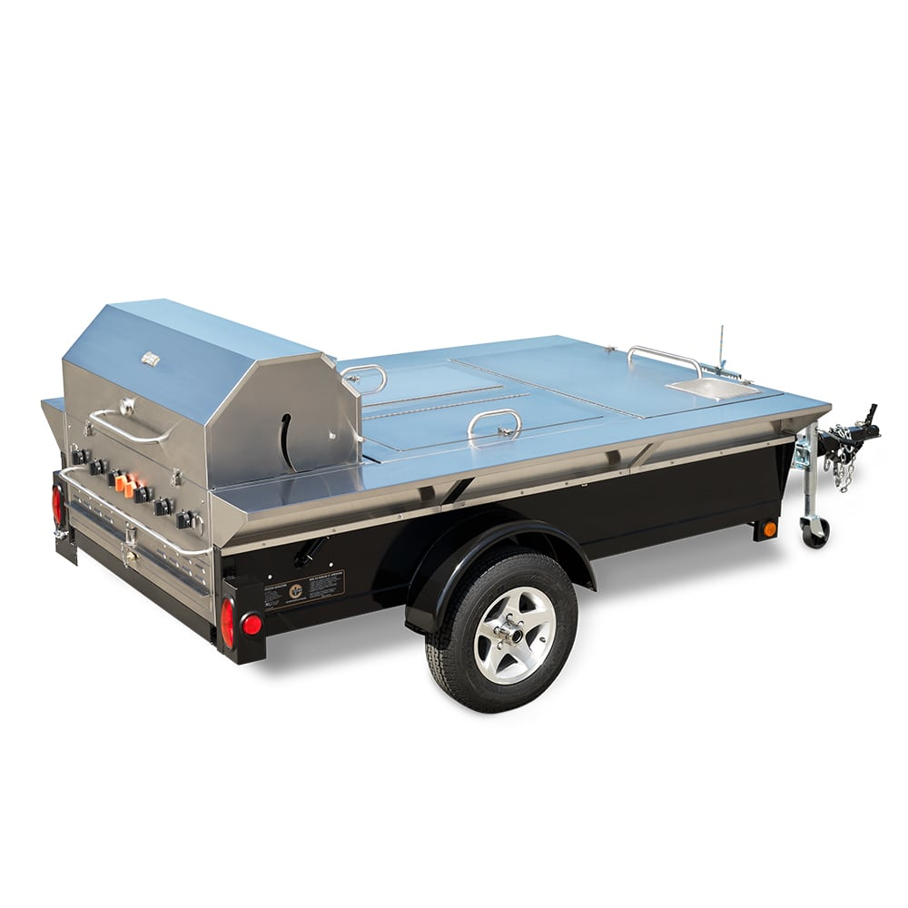 "Crown Verity TG-4 48"" Towable Gas Commercial Outdoor Grill w/ Water Pans, LP"