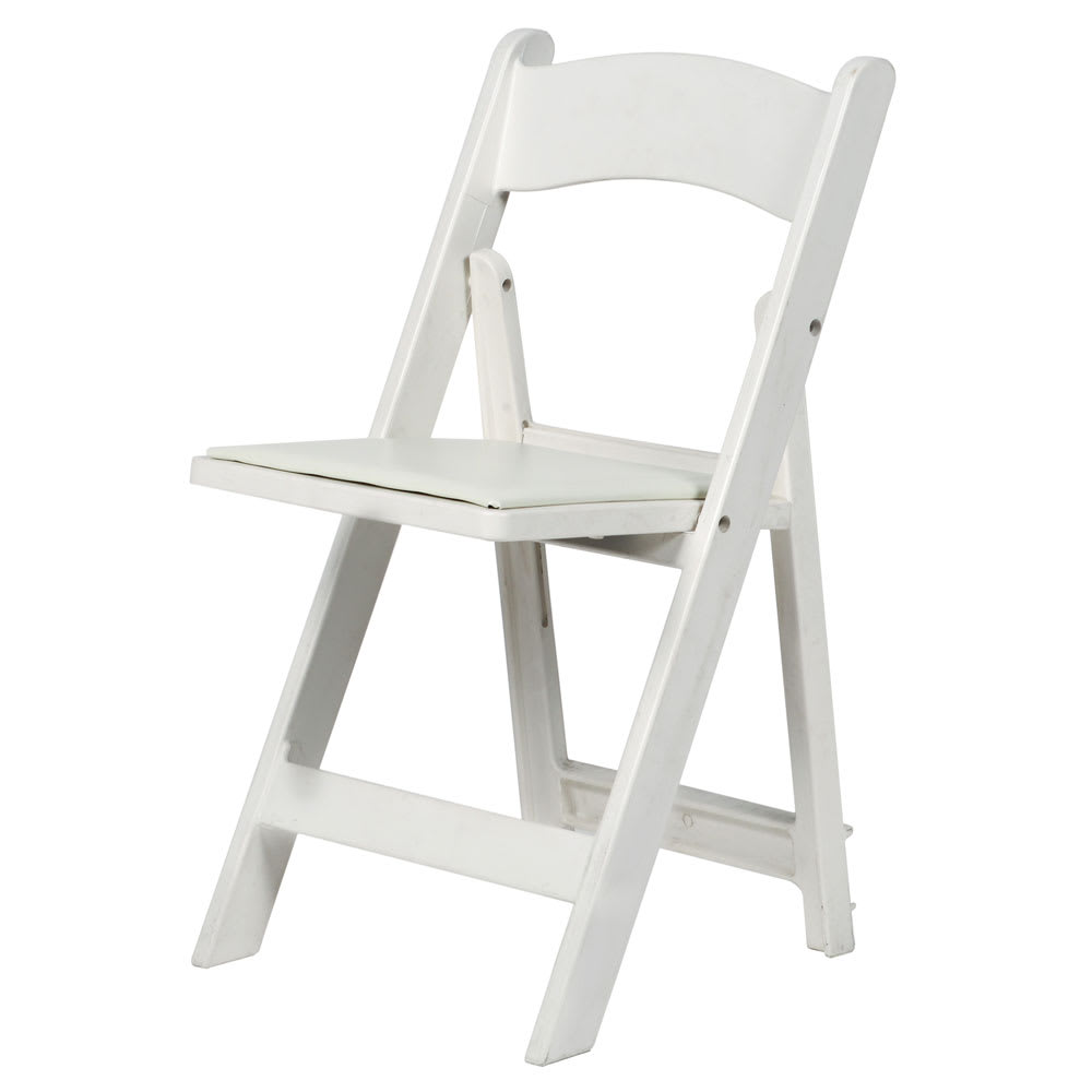 CSP R-101-WH Folding Chair w/ Vinyl Padded Seat - 1,000-lb Capacity, Max Resin, White