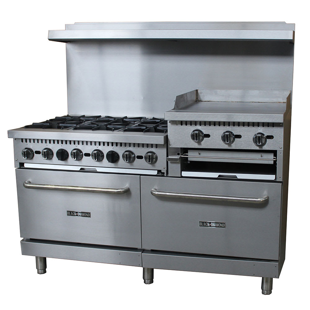 "eQuipped 60-CPGV-24RG-S26 60"" 6-Burner Gas Range w/ Elevated Griddle, NG"