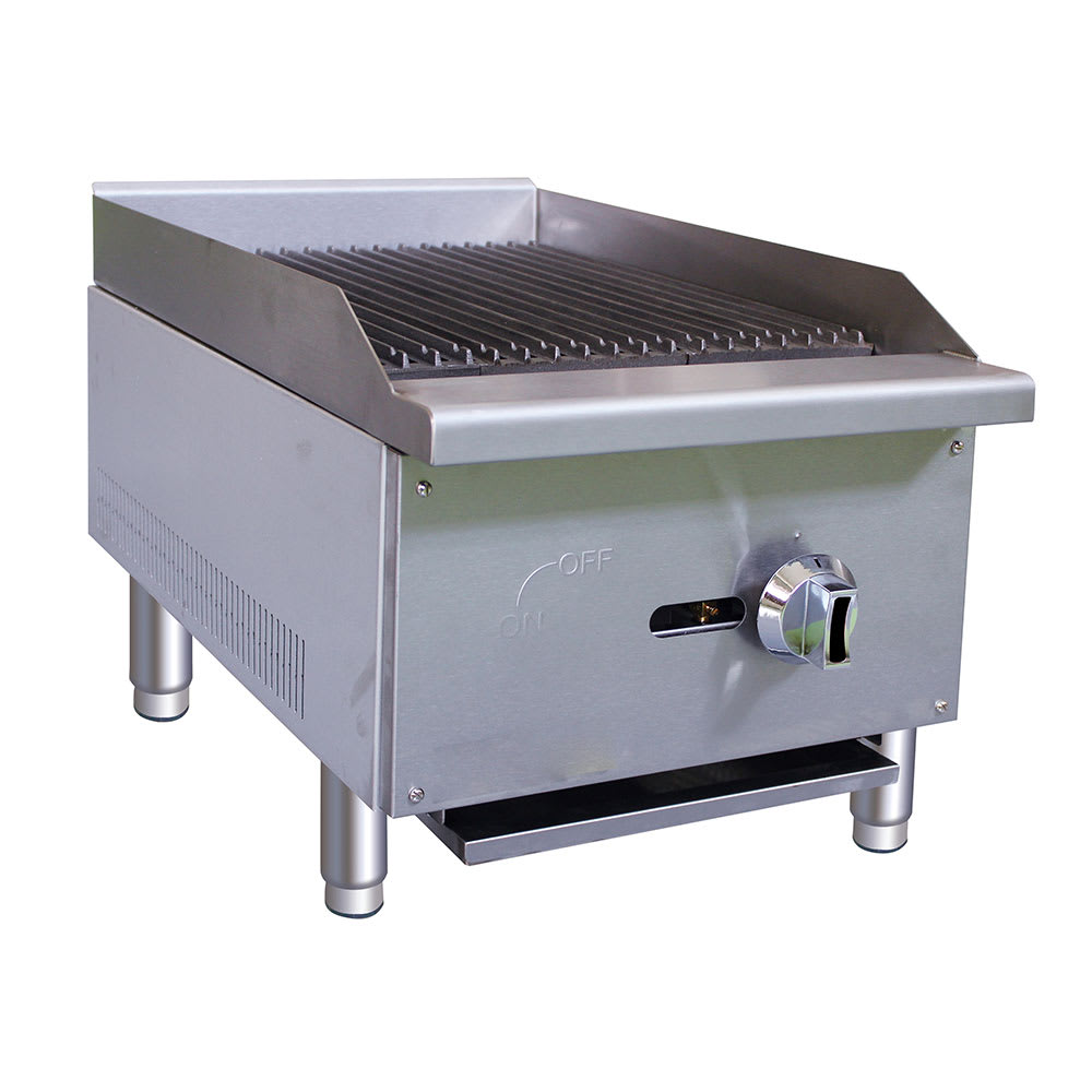 "eQuipped CBR15 16"" Gas Countertop Charbroiler - Standard, 30,000 BTU, Stainless"
