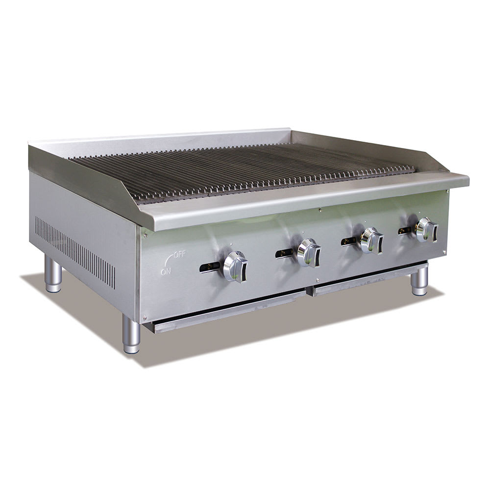 "eQuipped CBR48 48"" Gas Countertop Charbroiler - Standard, 120,000 BTU, Stainless"