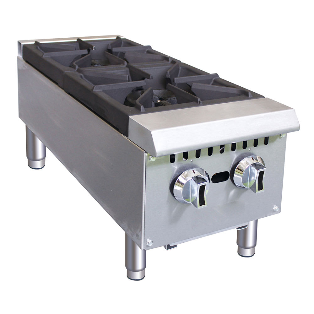 "eQuipped HP212 12"" Gas Hot Plate w/ (2) Burners & Manual Controls"