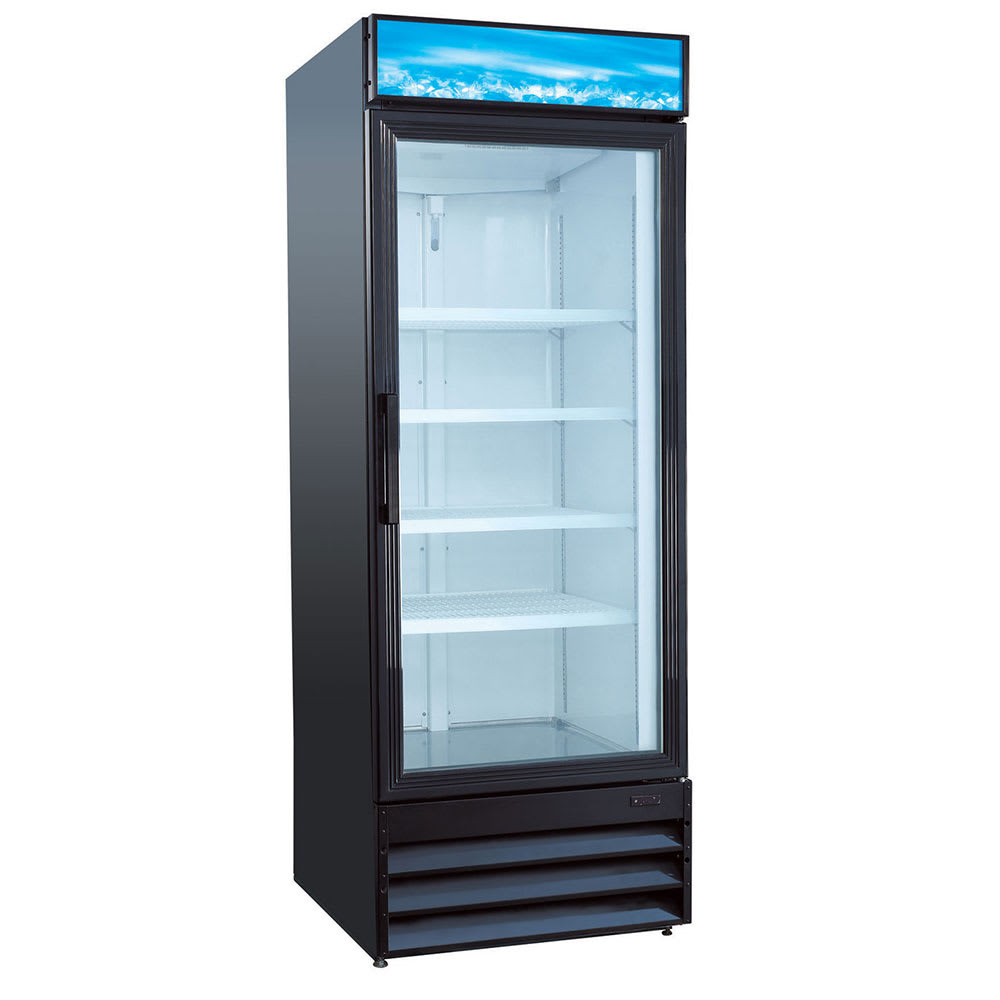 """eQuipped VRGD23 28"""" One Section Glass Door Merchandiser w/ Swing Door, Black, 115v"""