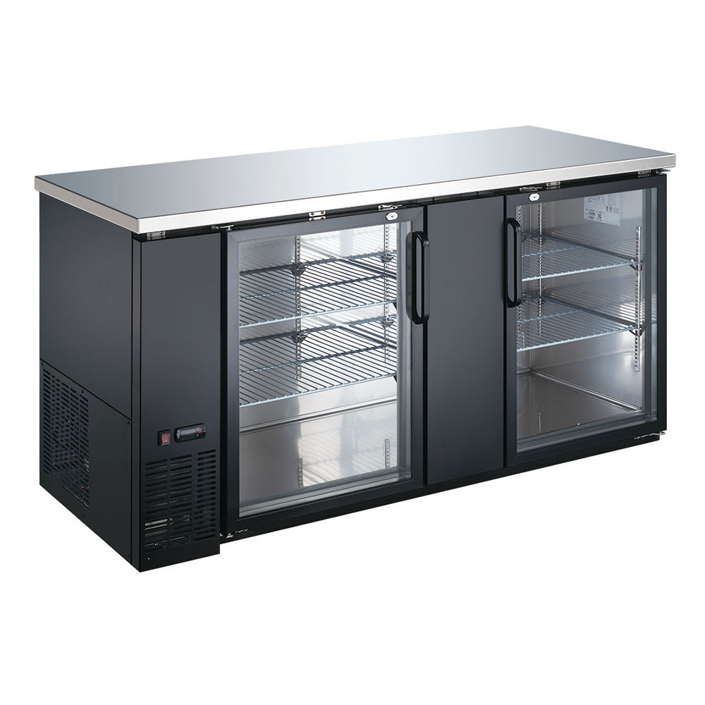 "eQuipped VUBB3 69"" (2) Section Bar Refrigerator - Swinging Glass Doors, 115v"