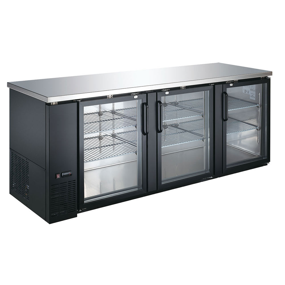 "eQuipped VUBB4 90"" (3) Section Bar Refrigerator - Swinging Glass Doors, 115v"