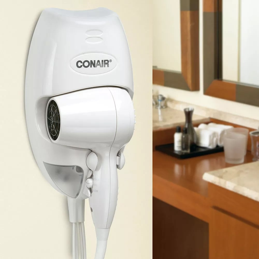 conair hospitality 134w wall mount hair dryer w led night light 2 heat speed settings white. Black Bedroom Furniture Sets. Home Design Ideas