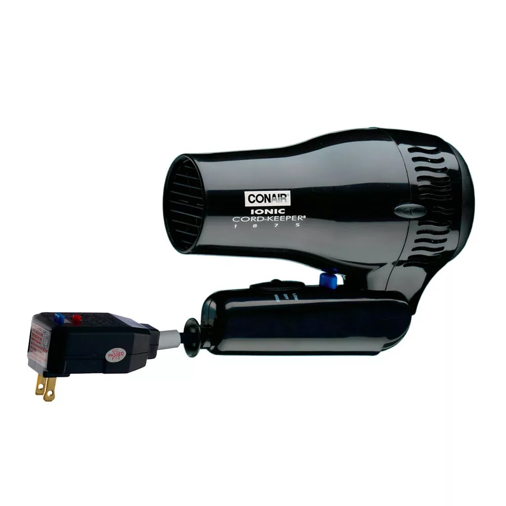 Conair Hospitality 169BIW Folding Hair Dryer w/ Cool Shot Button - (2) Heat/Speed Settings, Black