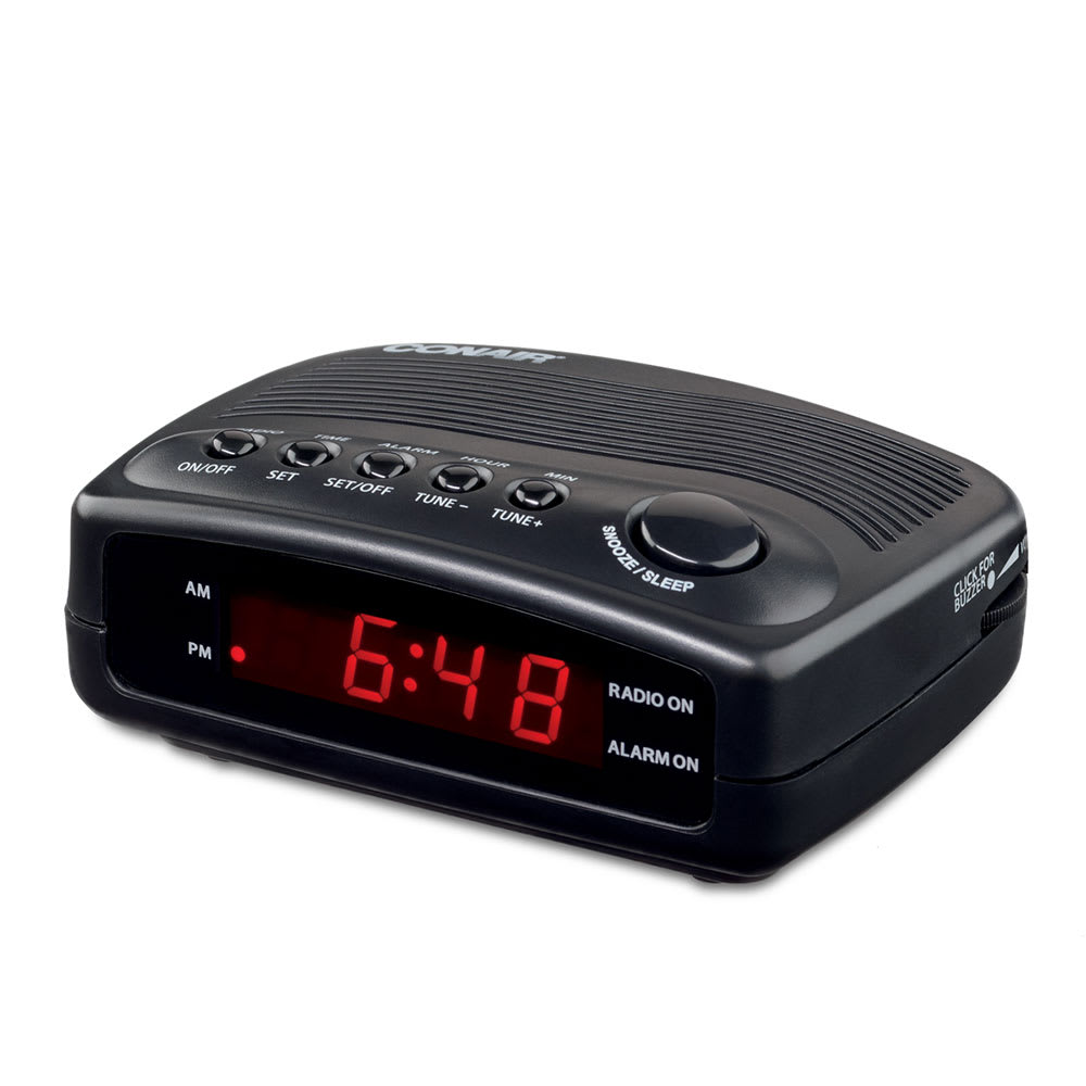 "Conair Hospitality WCR02 Alarm Clock Radio w/ Single Day Alarm - 4.25"" x 5.5"", Black"