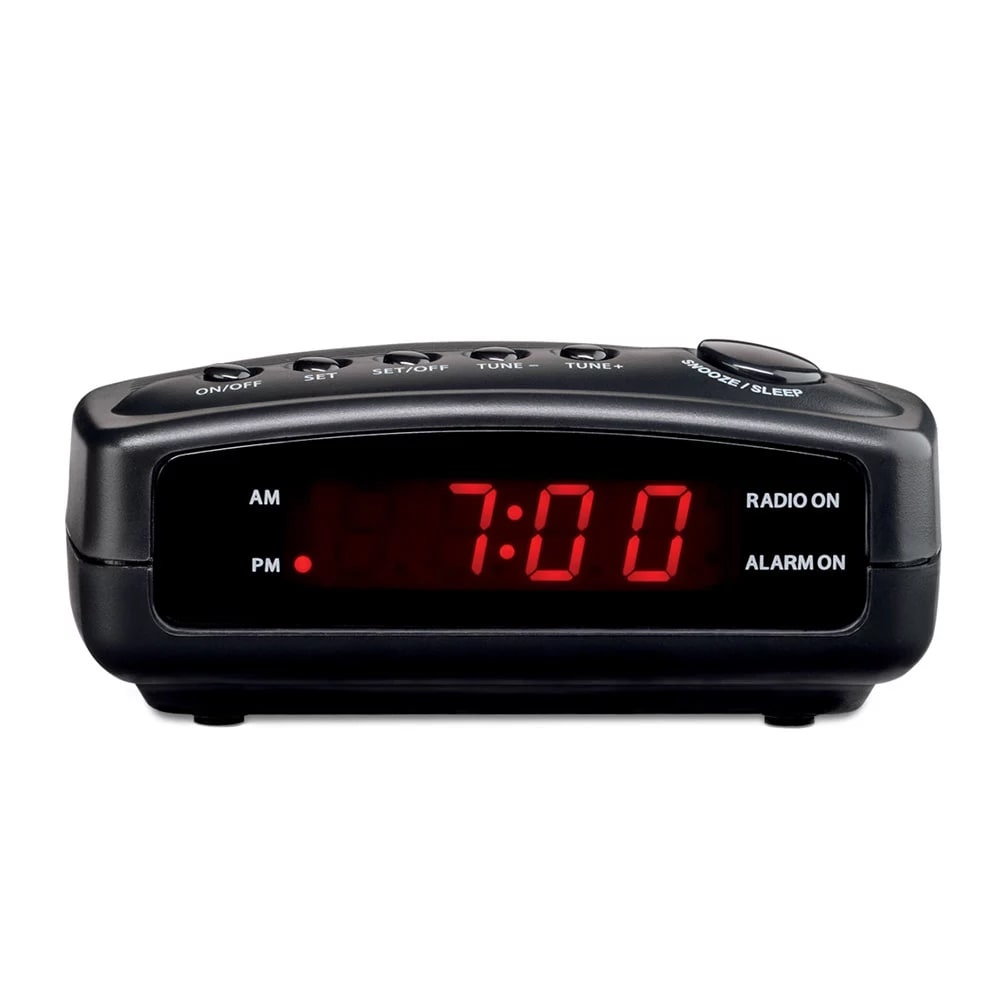 "Conair Hospitality WCR02 Alarm Clock Radio w/ Single Day Alarm - 4.25"" x 5.5"", Black"
