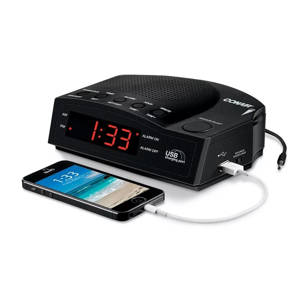 "Conair Hospitality WCR14 Alarm Clock Radio w/ USB Charging Port & AUX Jack - 5.5"" x 7"", Black"