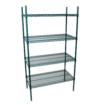 "StoreIt 224488 Epoxy Coated Wire Shelving Unit w/ (4) Levels, 48"" x 24"" x 84"""
