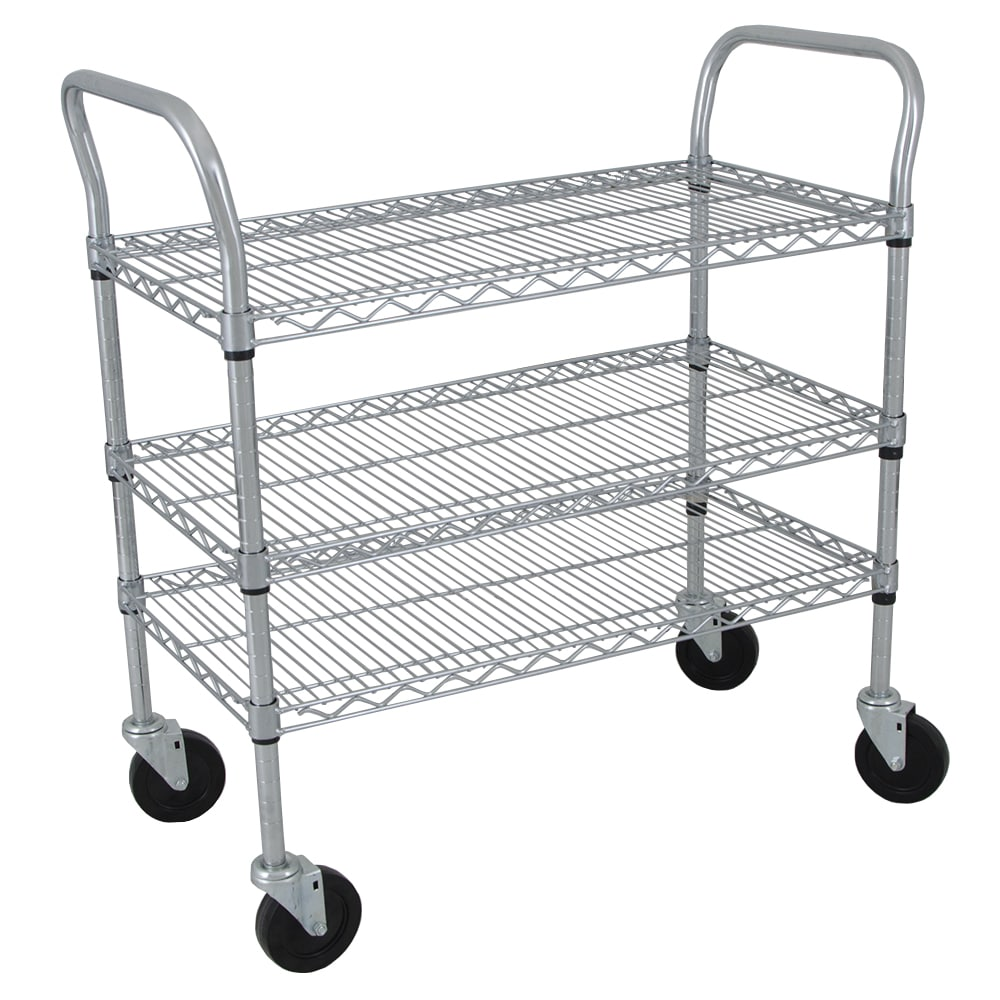 StoreIt SI-UC-3-3618-CH 3 Level Wire Utility Cart w/ 600 lb Capacity - Flat Ledges, Chrome