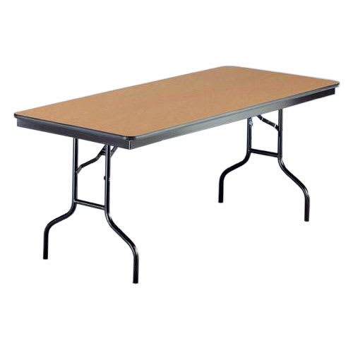 "Midwest Folding Products 630EF Rectangular Folding Banquet Table w/ Walnut Laminate Top, 30"" x 72"""