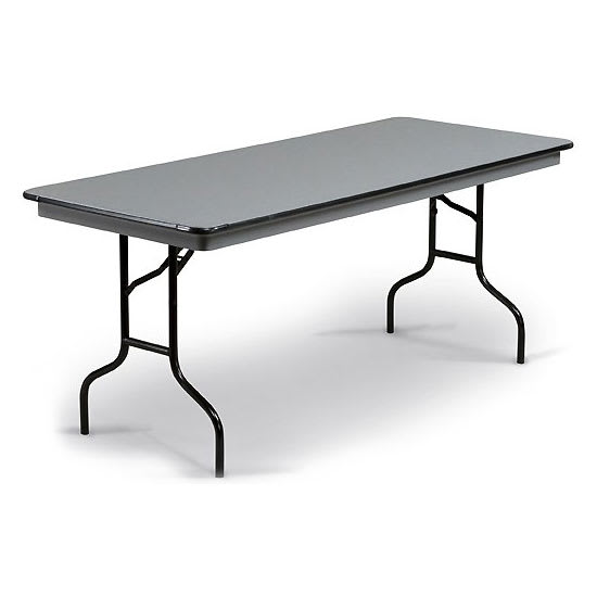 "Midwest Folding Products 830EF Rectangular Folding Banquet Table w/ Gray Glace Laminate Top, 30"" x 96"""