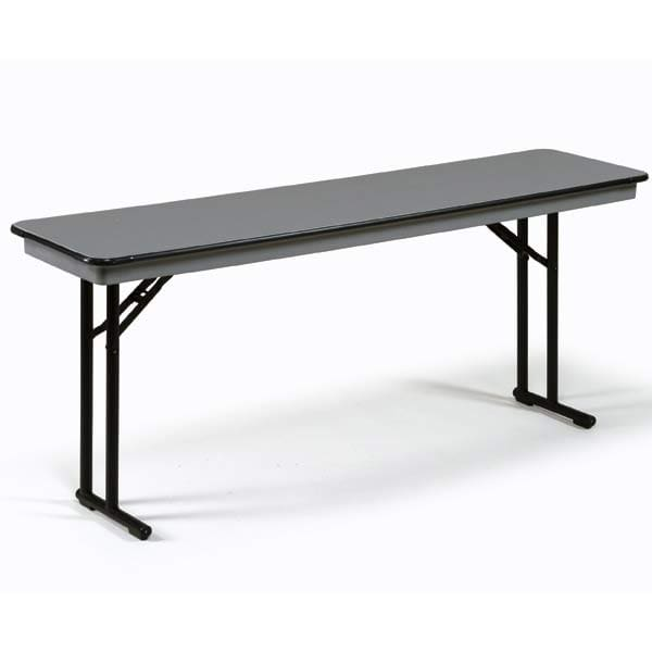 "Midwest Folding Products CP818EF Rectangular Folding Seminar Table w/ Gray Glace Laminate Top, 18"" x 96"""