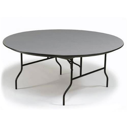 "Midwest Folding Products R72EF 72"" Round Folding Banquet Table w/ Gray Glace Laminate Top"